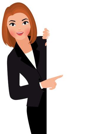 Stock Vector ilustración de dibujos animados joven empresaria en traje de la celebración gran señal en blanco.