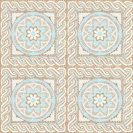 Stock vector illustration seamless pattern antique mosaic Vettoriali