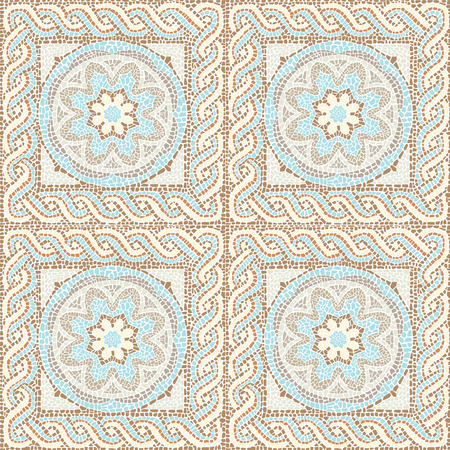 Stock vector illustration seamless pattern antique mosaic Ilustração