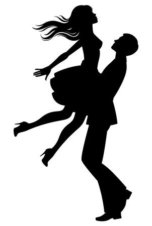 お互いの腕の恋人のカップルのシルエットの株式ベクトル イラスト