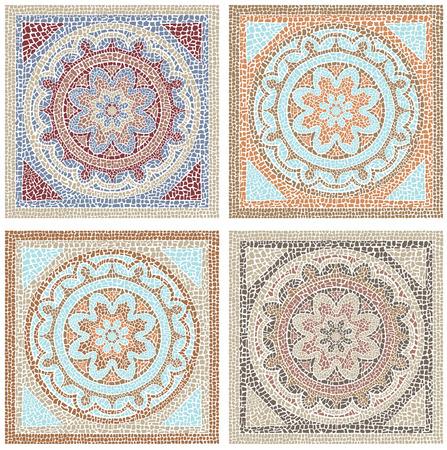 株式ベクトル図シームレス パターン アンティーク モザイク