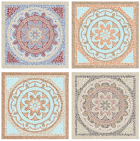 Stock vector illustration seamless pattern antique mosaic 일러스트