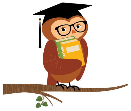 hat graduate: Stock Vector cartoon illustration of Academic owl holding a book sitting on a branch