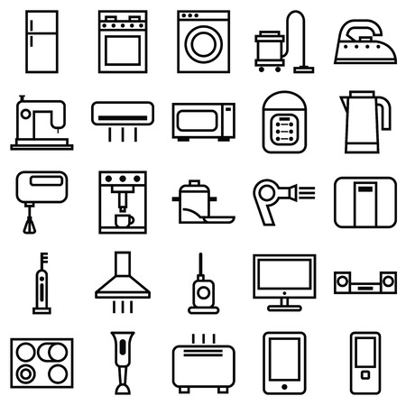 Stock vector illustration of a set of linear icons various house appliances Vector