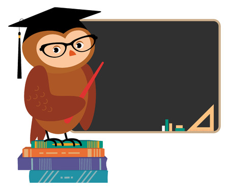 buho graduacion: Stock Vector ilustraci�n de dibujos animados de b�ho Acad�mico de pie en una junta escolar