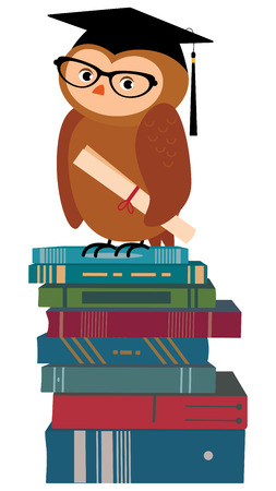 sciences: Stock vector illustration of a cartoon wise owl hat sciences professor stands on a pile of books Illustration