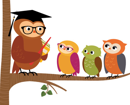 Stock Vector cartoon illustration Owl teacher and his students Vettoriali