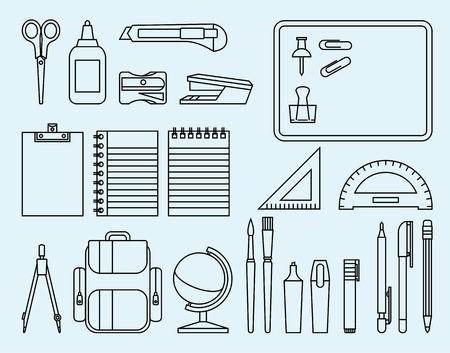 utiles escolares: Ilustraci�n lineal de la escuela y de oficina Vectores