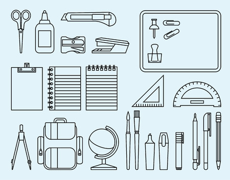 school icons: Linear Stock Illustration school and office supplies