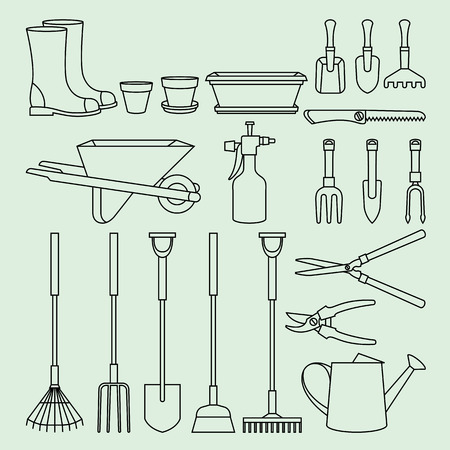 hoe: Linear illustration set of garden tools and accessories Illustration