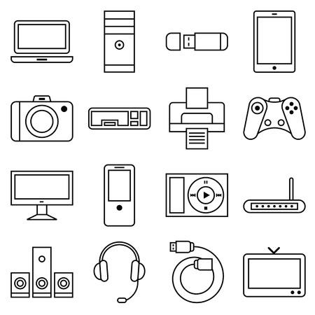 icono computadora: Ilustración Stock vector de un conjunto de iconos de ordenador lineal y otros equipos electrónicos