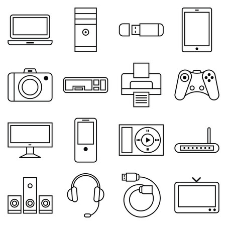 audio electronics: Stock vector illustration of a set of linear icons computer and other electronic equipment