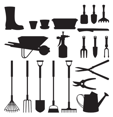 Ilustración Foto de conjunto de vectores de siluetas de los objetos de las herramientas de jardín y accesorios
