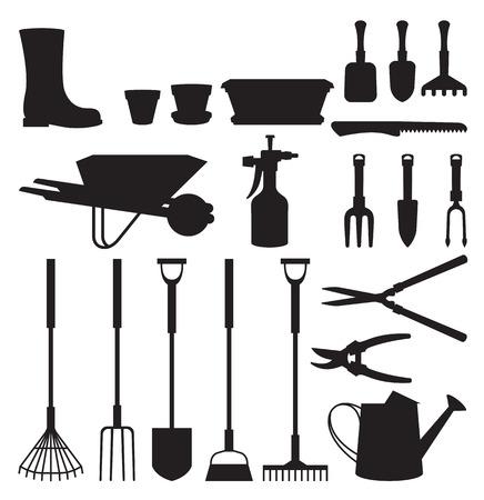 werkzeug: Vektor-Illustration Satz von Silhouetten der Objekte der Gartenwerkzeuge und Zubeh�r