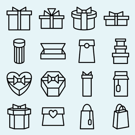 giftware: Stock vector illustration of a set of linear icons packaging and gift box