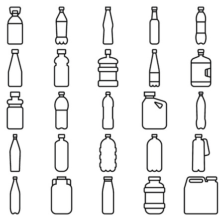 Stock vector illustration of a set of plastic bottles and other containers