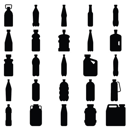 Stock vector illustration Set of silhouettes of plastic bottles and other containers