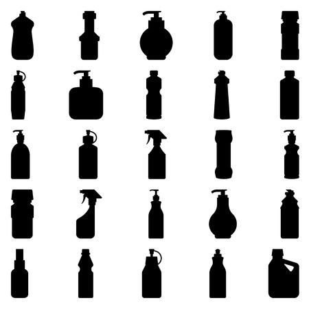 Ilustración Foto de conjunto de vectores de siluetas de los contenedores y botellas de productos químicos de uso doméstico