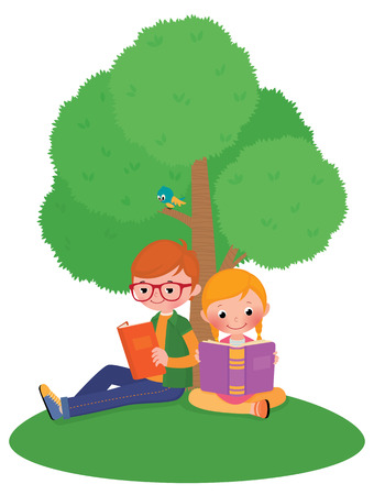 Stock vector illustration of children boy and girl outdoors read book Vector