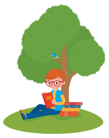 knowledge tree: Stock Vector illustration of a boy reading a book sitting under a tree