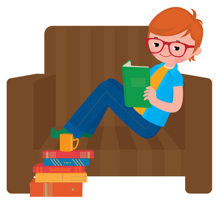 child sitting: Stock vector illustration of a child boy reading a book sitting in a chair