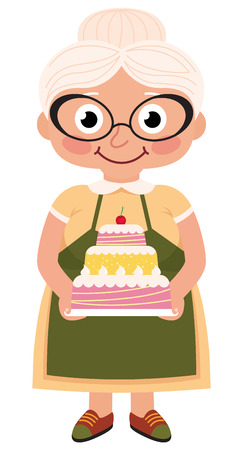 Stock Vector cartoon illustration of a grandmother baked a cake