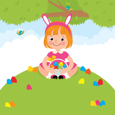 Stock Vector cartoon illustration of a happy children in rabbit costume for Easter holiday Vector