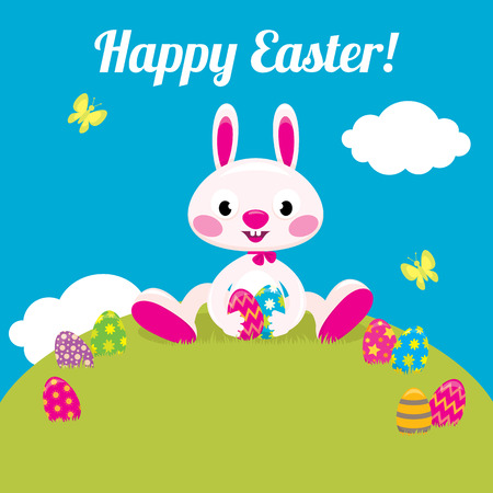 easter bunny: Stock vector cartoon illustration Easter bunny and Easter colored eggs