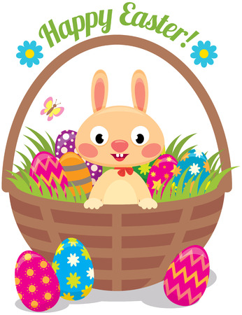 Stock Vector cartoon illustration of Easter bunny in a basket with eggs Vector