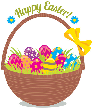 egg white: Stock vector illustration Basket painted Easter eggs isolated on a white background