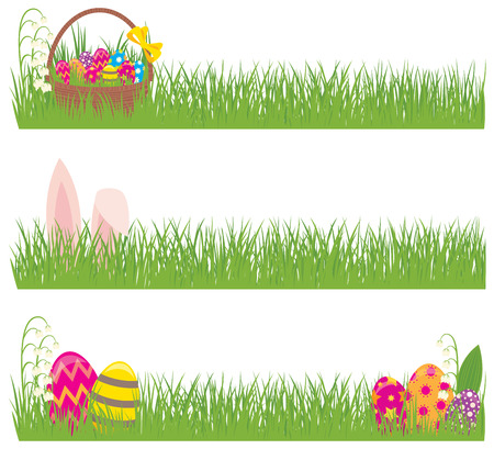 grass border: Stock vector illustration Set of Easter banners grass and Easter eggs