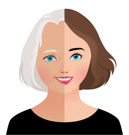 aging woman: Stock vector illustration of beauty and skin care woman face before and after rejuvenation facelift