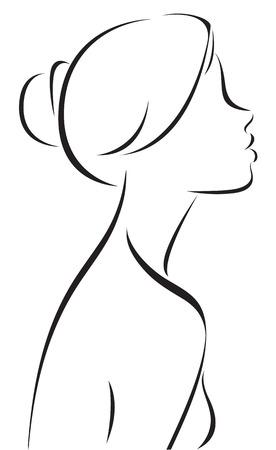 dibujos lineales: Stock Vector ilustración línea dibujo de perfil de la mujer Vectores
