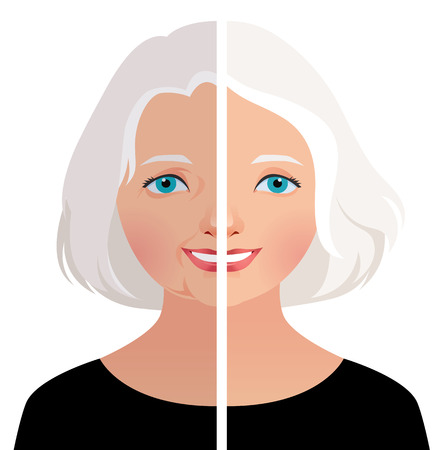 Stock vector illustration of a beautiful older woman before and after cosmetic operation Illustration