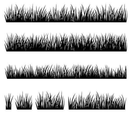 Stock vector illustration Set of silhouette of grass isolated on white background Çizim