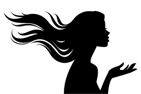 dessin noir et blanc: Stock illustration d'une silhouette d'une belle fille dans le profil avec des cheveux longs isolé sur un fond blanc Illustration