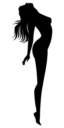 black breast: Stock vector illustration of a silhouette of a naked girl in profile isolated on white background