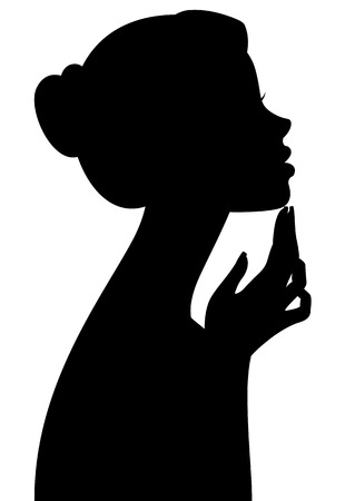 hands silhouette: Stock vector illustration silhouette portrait of a girl in profile isolated on white background