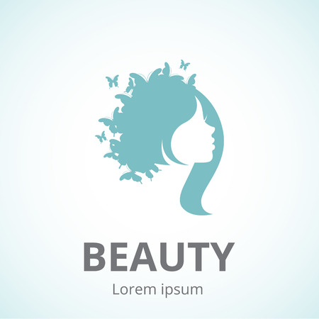 blue hair: Vector silhouette of a girl in profile template icon or an abstract concept for beauty salons, spa, cosmetics, fashion and beauty industry Illustration