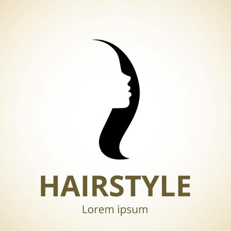 プロファイル テンプレート ロゴや美容サロン、スパ、化粧品、ファッション、美容業界のための抽象的な概念で女の子のベクトル シルエット  イラスト・ベクター素材