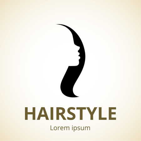 beautiful hair: Vector silhouette of a girl in profile template logo or an abstract concept for beauty salons, spa, cosmetics, fashion and beauty industry