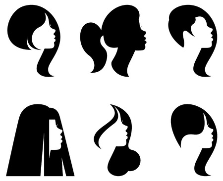 Vector stylized silhouettes of women\'s heads in profile with different hairstyles Illustration