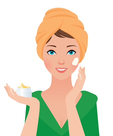 Stock vector illustration of a portrait of a girl uses a cosmetic facial cream 일러스트