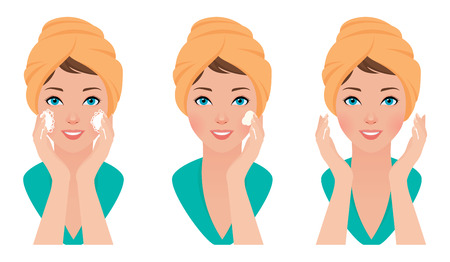 Vector illustration set girl skin care face washes and applies cosmetic cream