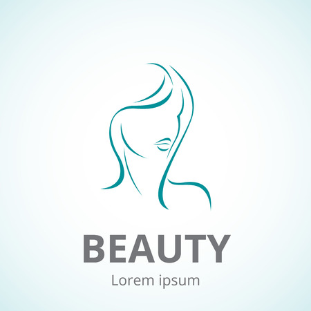 beauty girl pretty: Vector logo template or abstract concept for beauty salons, spa, cosmetics