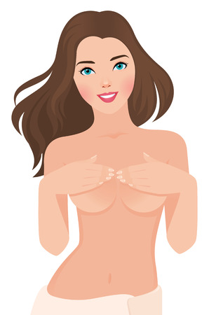 topless women: Stock vector illustration of a topless beautiful well groomed girl