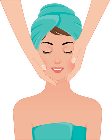 Stock Vector illustration of girl gets facial massage in the spa salon Иллюстрация