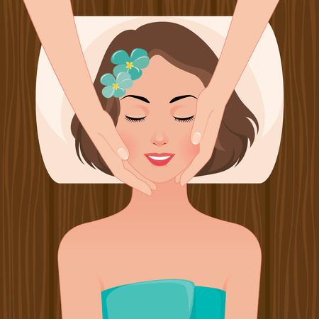 masaje facial: Ilustración vectorial mujer hermosa que toma el tratamiento del masaje facial en el salón del balneario