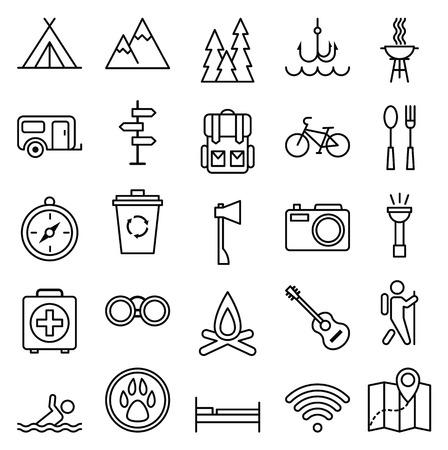campamento: Ilustración Stock vector gran conjunto de iconos lineal camping y turismo Vectores