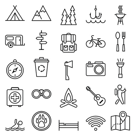 camp: Stock vector illustration big set linear icon camping and tourism